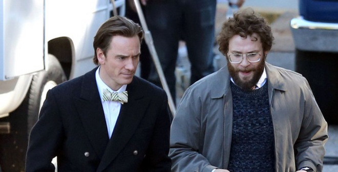 Fassbender and Rogen and Jobs and Wozniak, respectively