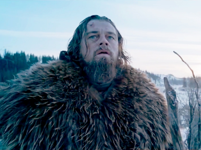 DiCaprio in a still from production on 'The Revenant'