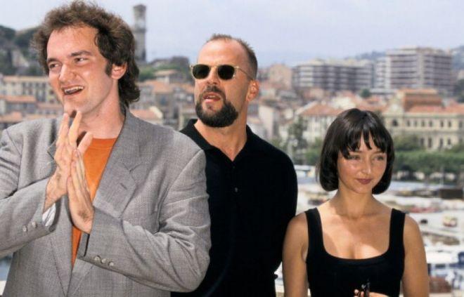 QT, Bruce Willis, and Maria de Medeiros at the '94 Cannes Film Festival
