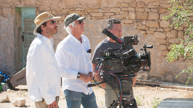 Villenueve, Deakins, and some other guy on the set of 'Sicario'