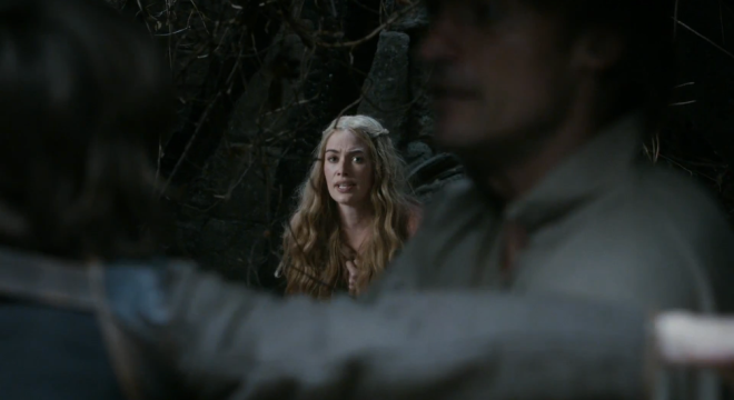 "A nice little shot here. Cersei, in focus and framed between Jaime-Bran, with the frantic look, repeating ""He saw us""."